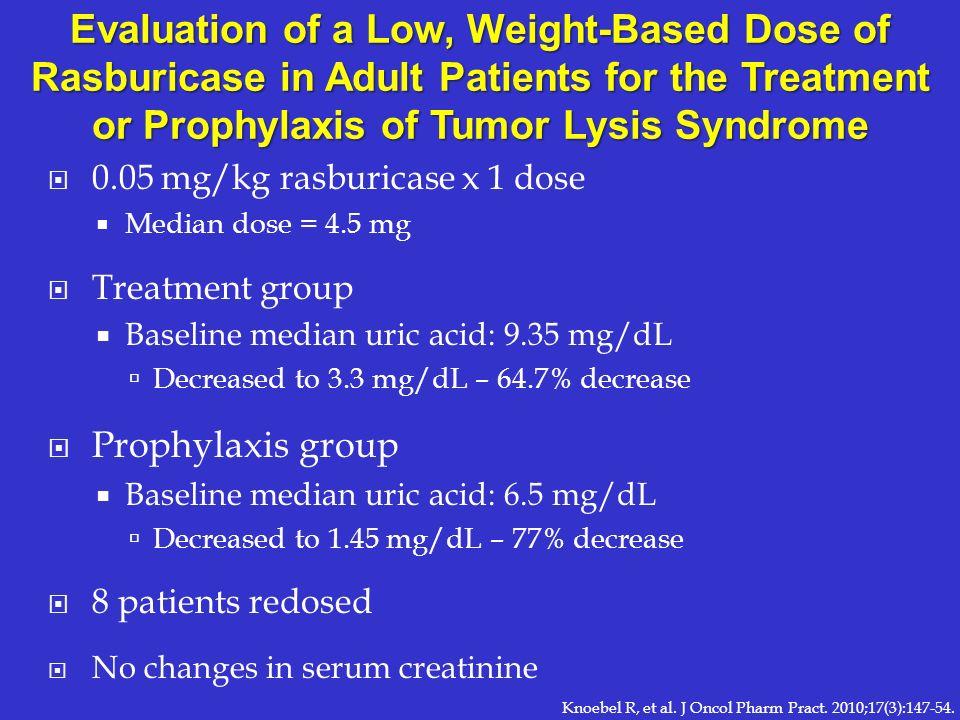 0.05 mg/kg rasburicase x 1 dose Median dose = 4.5 mg Treatment group Baseline median uric acid: 9.35 mg/dL Decreased to 3.3 mg/dL – 64.7% decrease Pro