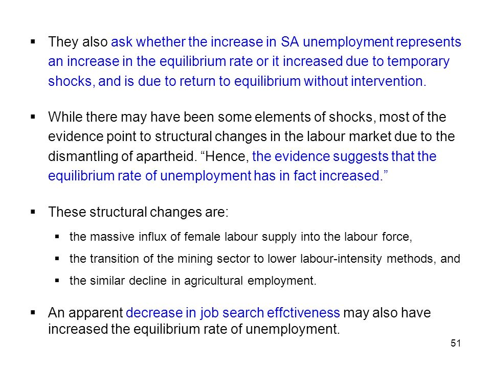 51 They also ask whether the increase in SA unemployment represents an increase in the equilibrium rate or it increased due to temporary shocks, and i