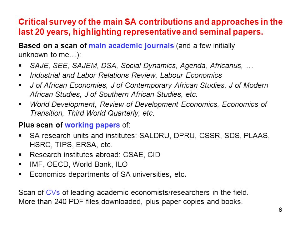 6 Critical survey of the main SA contributions and approaches in the last 20 years, highlighting representative and seminal papers. Based on a scan of