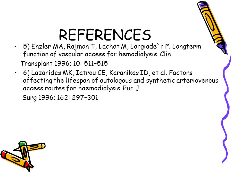 REFERENCES 5) Enzler MA, Rajmon T, Lachat M, Largiade`r F. Longterm function of vascular access for hemodialysis. Clin Transplant 1996; 10: 511–515 6)