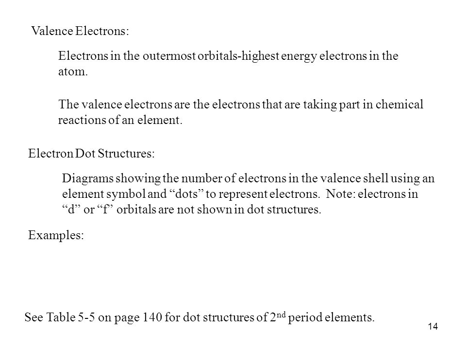 14 Valence Electrons: Electrons in the outermost orbitals-highest energy electrons in the atom. The valence electrons are the electrons that are takin