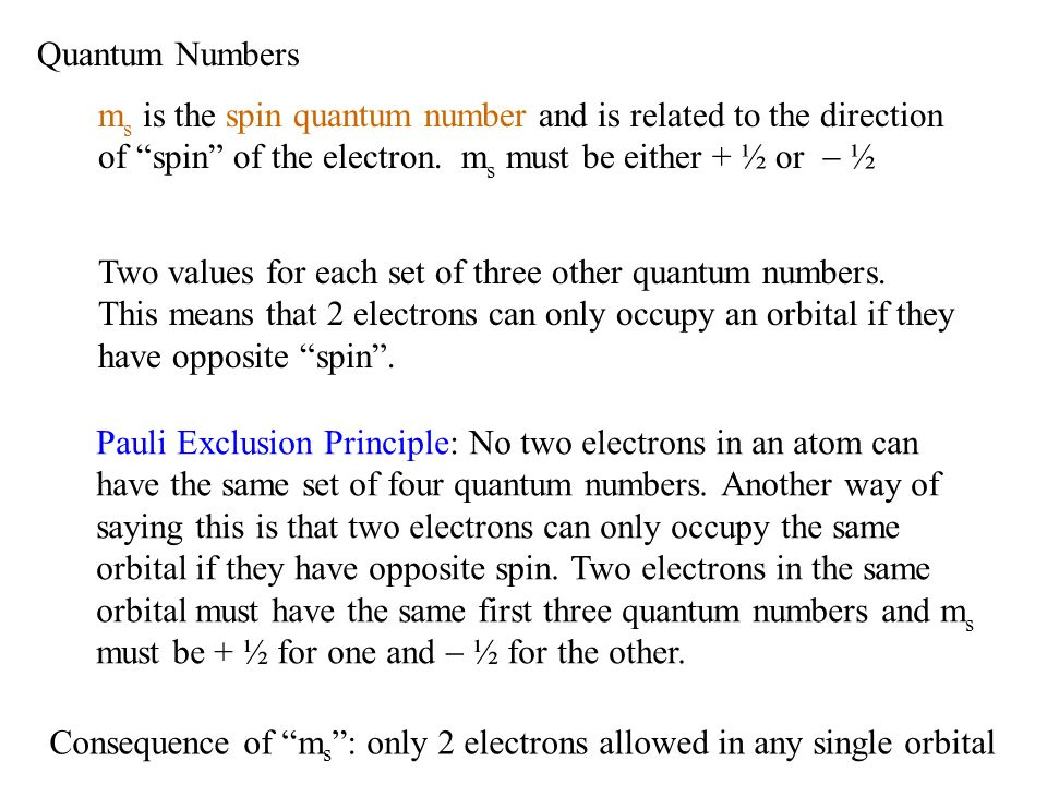 Quantum Numbers m s is the spin quantum number and is related to the direction of spin of the electron. m s must be either + ½ or ½ Two values for eac