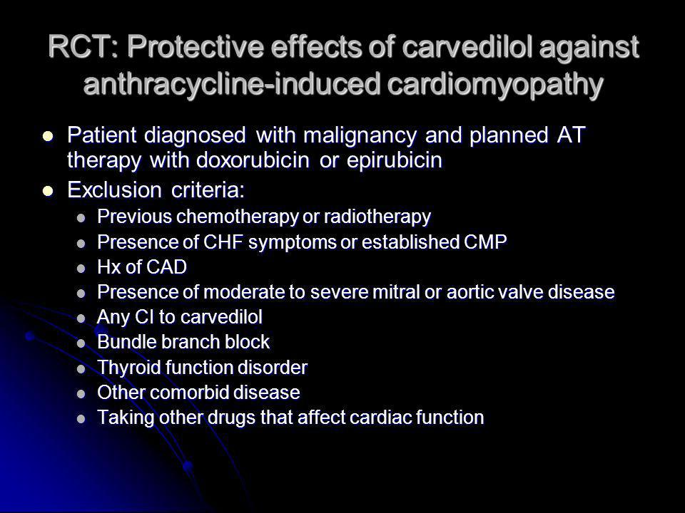 RCT: Protective effects of carvedilol against anthracycline-induced cardiomyopathy Patient diagnosed with malignancy and planned AT therapy with doxor