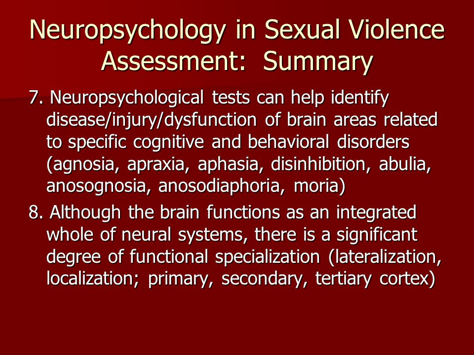 Biology & Sexual Violence Perhaps the most promising area of research likely to establish scientific evidence of diminished behavioral control is psychophysiological.