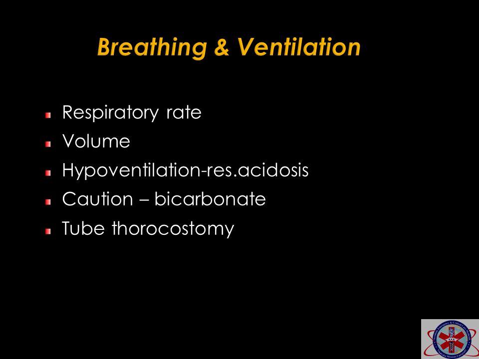 Respiratory rate Volume Hypoventilation-res.acidosis Caution – bicarbonate Tube thorocostomy