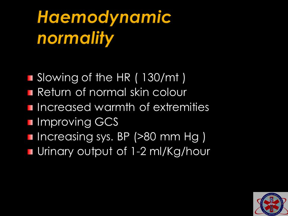 Slowing of the HR ( 130/mt ) Return of normal skin colour Increased warmth of extremities Improving GCS Increasing sys. BP (>80 mm Hg ) Urinary output