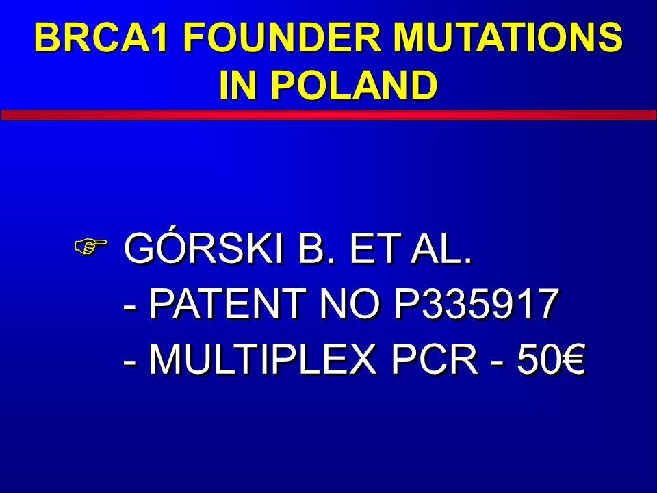 BRCA1 FOUNDER MUTATIONS IN POLAND GÓRSKI B. ET AL. - PATENT NO P335917 - MULTIPLEX PCR - 50 GÓRSKI B. ET AL. - PATENT NO P335917 - MULTIPLEX PCR - 50