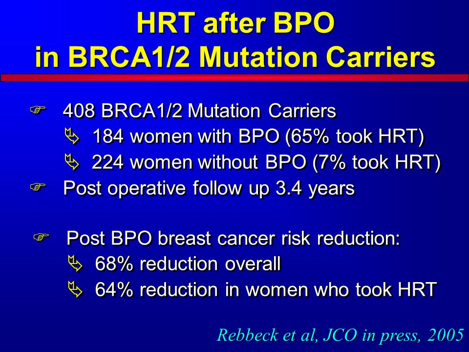408 BRCA1/2 Mutation Carriers 408 BRCA1/2 Mutation Carriers 184 women with BPO (65% took HRT) 184 women with BPO (65% took HRT) 224 women without BPO