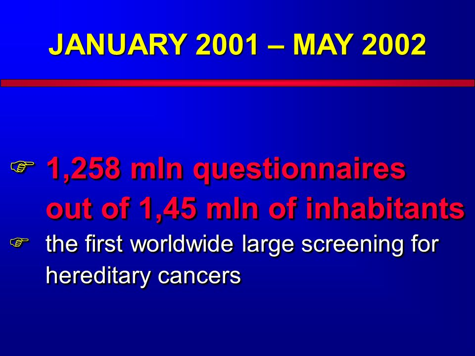 JANUARY 2001 – MAY 2002 1,258 mln questionnaires out of 1,45 mln of inhabitants 1,258 mln questionnaires out of 1,45 mln of inhabitants the first worldwide large screening for hereditary cancers the first worldwide large screening for hereditary cancers 1,258 mln questionnaires out of 1,45 mln of inhabitants 1,258 mln questionnaires out of 1,45 mln of inhabitants the first worldwide large screening for hereditary cancers the first worldwide large screening for hereditary cancers
