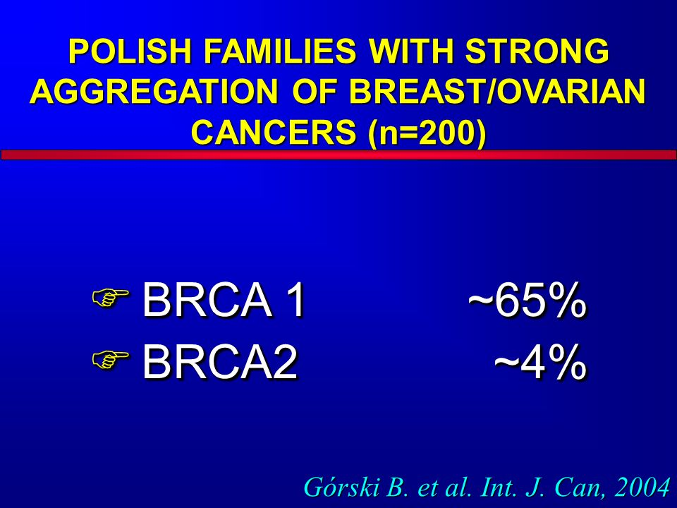 POLISH FAMILIES WITH STRONG AGGREGATION OF BREAST/OVARIAN CANCERS (n=200) BRCA 1 ~65% BRCA 1 ~65% BRCA2~4% BRCA2~4% BRCA 1 ~65% BRCA 1 ~65% BRCA2~4% B