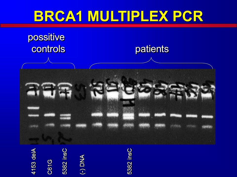 BRCA1 MULTIPLEX PCR possitive controls 4153 delA C61GC61G 5382 insC (-) DNA 5382 insC patientspatients