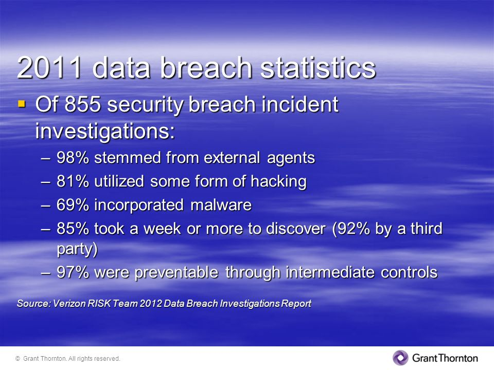 2011 data breach statistics Of 855 security breach incident investigations: Of 855 security breach incident investigations: –98% stemmed from external