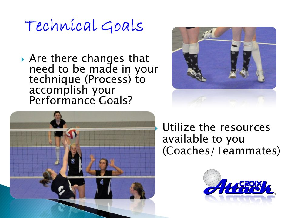 Are there changes that need to be made in your technique (Process) to accomplish your Performance Goals.