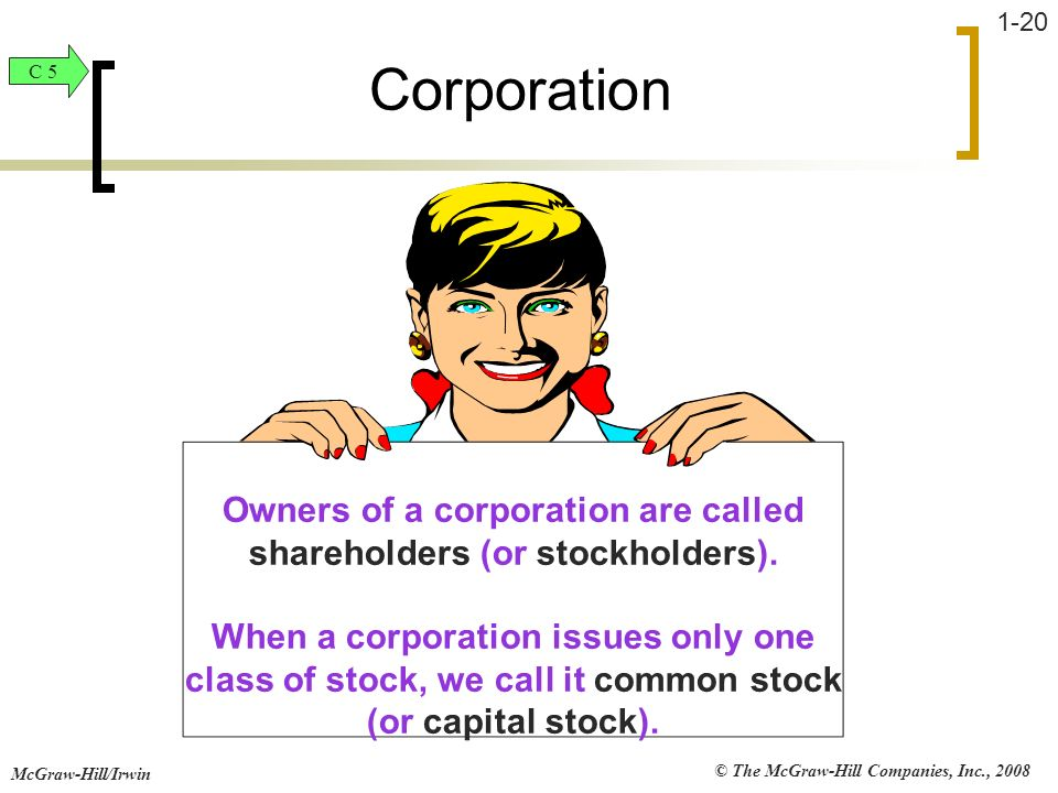 © The McGraw-Hill Companies, Inc., 2008 McGraw-Hill/Irwin 1-20 Owners of a corporation are called shareholders (or stockholders). When a corporation i