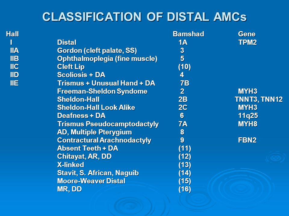 CLASSIFICATION OF DISTAL AMCs HallBamshad Gene HallBamshad Gene IDistal 1A TPM2 IIAGordon (cleft palate, SS) 3 IIBOphthalmoplegia(fine muscle) 5 IICCl