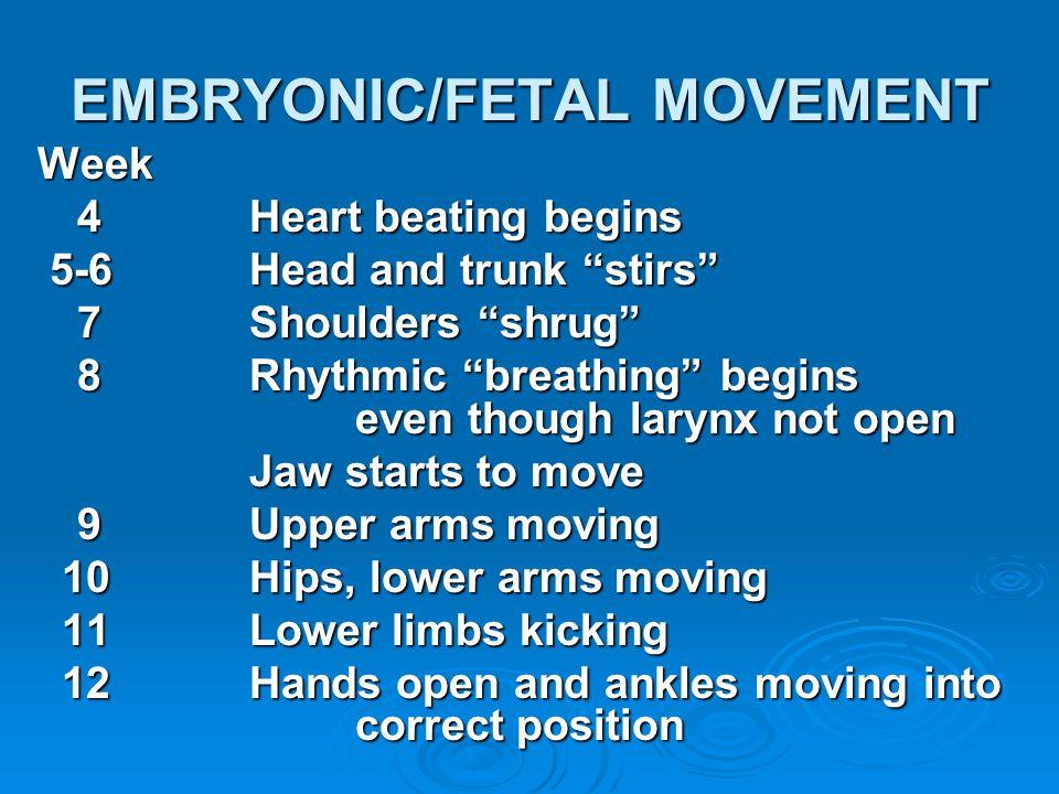 EMBRYONIC/FETAL MOVEMENT Week 4Heart beating begins 5-6Head and trunk stirs 5-6Head and trunk stirs 7Shoulders shrug 8Rhythmic breathing begins even t