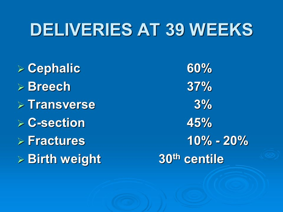 DELIVERIES AT 39 WEEKS Cephalic60% Cephalic60% Breech37% Breech37% Transverse 3% Transverse 3% C-section45% C-section45% Fractures10% - 20% Fractures1