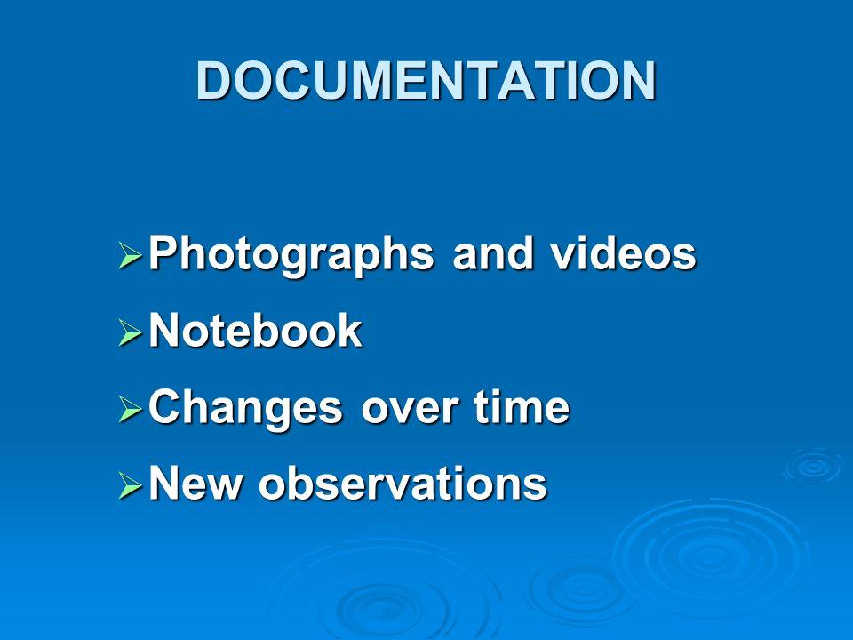 DOCUMENTATION Photographs and videos Photographs and videos Notebook Notebook Changes over time Changes over time New observations New observations