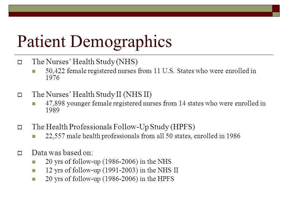 Patient Demographics The Nurses Health Study (NHS) 50,422 female registered nurses from 11 U.S. States who were enrolled in 1976 The Nurses Health Stu