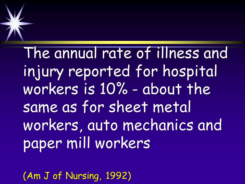 The annual rate of illness and injury reported for hospital workers is 10% - about the same as for sheet metal workers, auto mechanics and paper mill workers (Am J of Nursing, 1992)