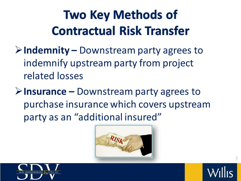 Indemnity – Downstream party agrees to indemnify upstream party from project related losses Insurance – Downstream party agrees to purchase insurance which covers upstream party as an additional insured 2