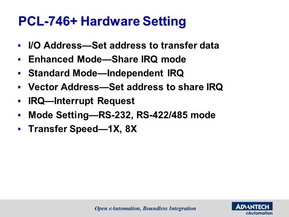 PCL-746+ Hardware Setting I/O AddressSet address to transfer data Enhanced ModeShare IRQ mode Standard ModeIndependent IRQ Vector AddressSet address t