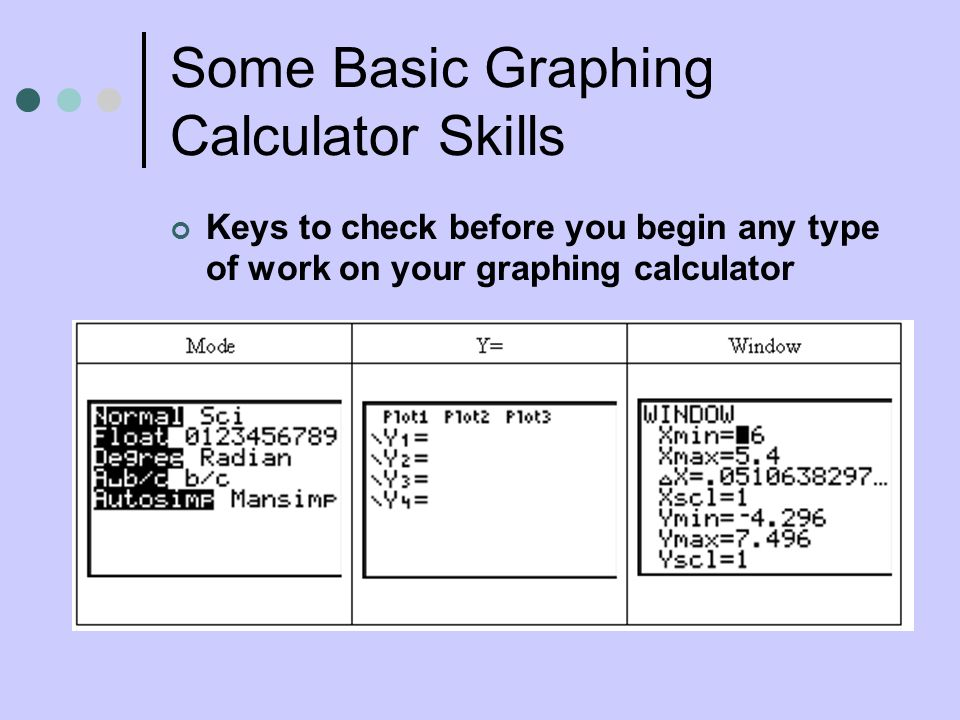 Some Basic Graphing Calculator Skills Keys to check before you begin any type of work on your graphing calculator