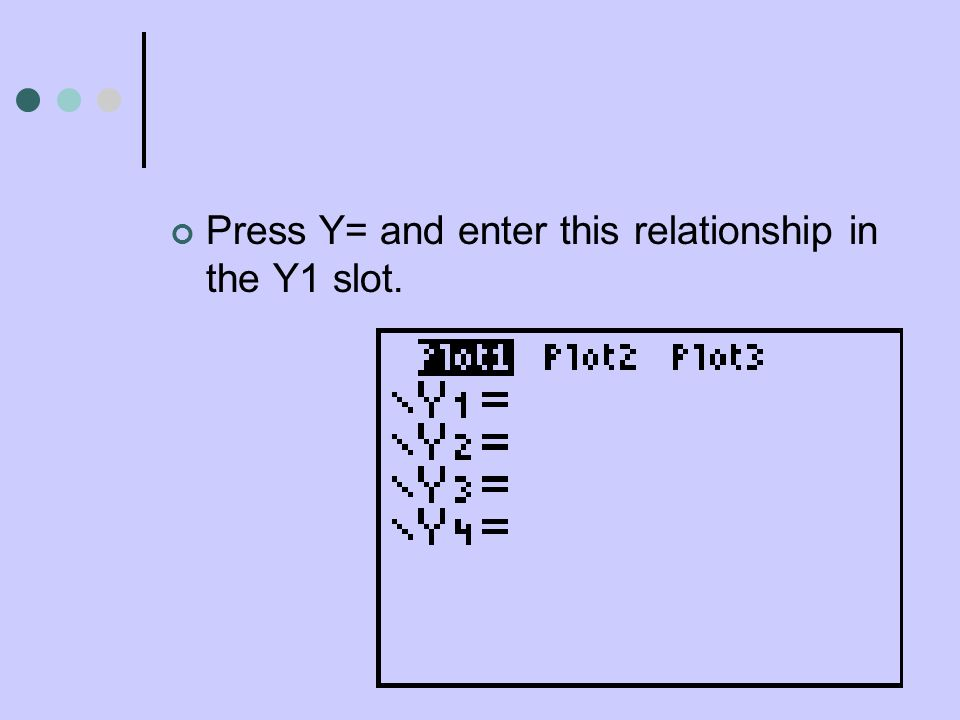 Press Y= and enter this relationship in the Y1 slot.