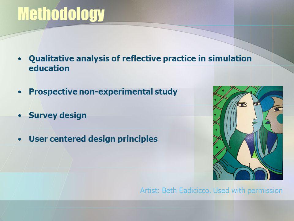 Methodology Qualitative analysis of reflective practice in simulation education Prospective non-experimental study Survey design User centered design