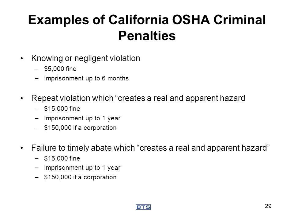 Knowing or negligent violation –$5,000 fine –Imprisonment up to 6 months Repeat violation which creates a real and apparent hazard –$15,000 fine –Impr