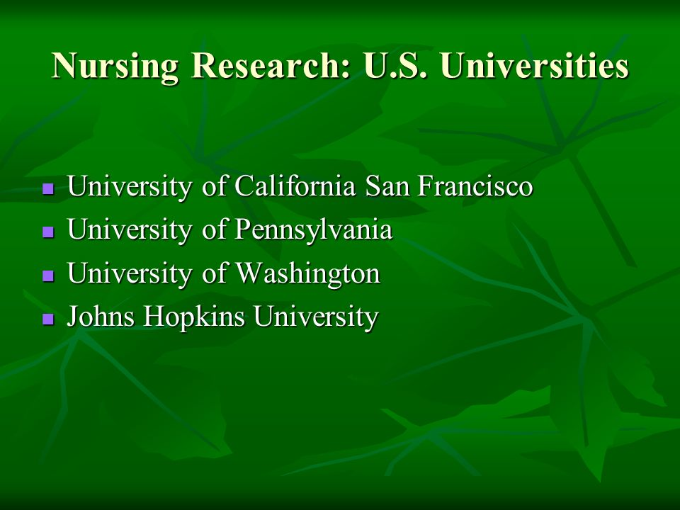 Nursing Research: U.S.