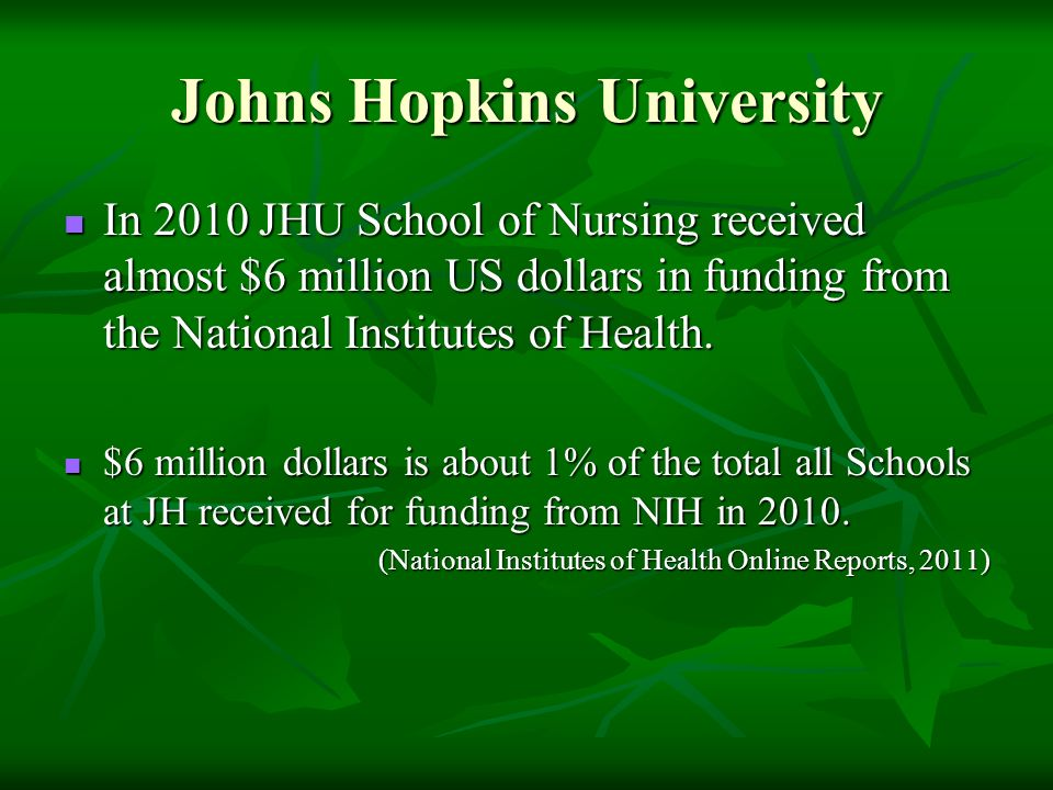 Johns Hopkins University In 2010 JHU School of Nursing received almost $6 million US dollars in funding from the National Institutes of Health. In 201