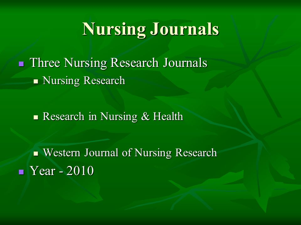 Nursing Journals Three Nursing Research Journals Three Nursing Research Journals Nursing Research Nursing Research Research in Nursing & Health Research in Nursing & Health Western Journal of Nursing Research Western Journal of Nursing Research Year Year