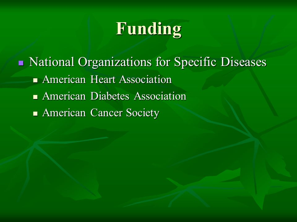 Funding National Organizations for Specific Diseases National Organizations for Specific Diseases American Heart Association American Heart Associatio