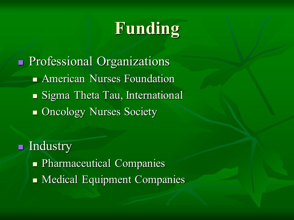Funding Professional Organizations Professional Organizations American Nurses Foundation American Nurses Foundation Sigma Theta Tau, International Sigma Theta Tau, International Oncology Nurses Society Oncology Nurses Society Industry Industry Pharmaceutical Companies Pharmaceutical Companies Medical Equipment Companies Medical Equipment Companies
