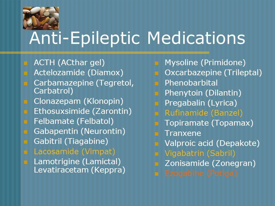 Anti-Epileptic Medications ACTH (ACthar gel) Actelozamide (Diamox) Carbamazepine (Tegretol, Carbatrol) Clonazepam (Klonopin) Ethosuxsimide (Zarontin)