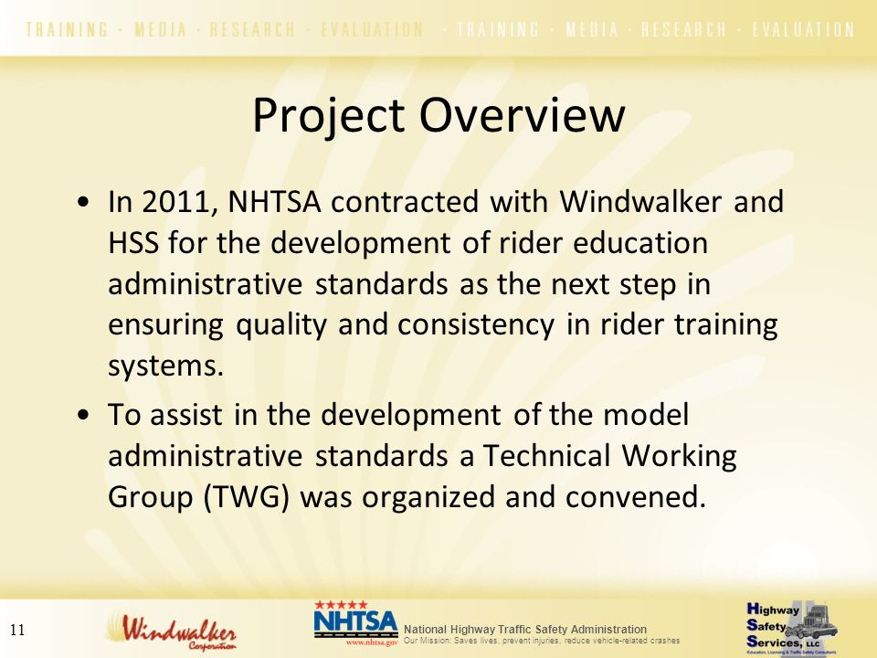 National Highway Traffic Safety Administration Our Mission: Saves lives, prevent injuries, reduce vehicle-related crashes 11 Project Overview In 2011,