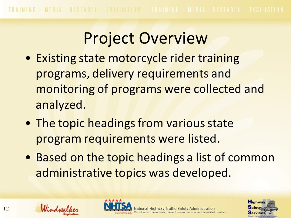 National Highway Traffic Safety Administration Our Mission: Saves lives, prevent injuries, reduce vehicle-related crashes 12 Project Overview Existing
