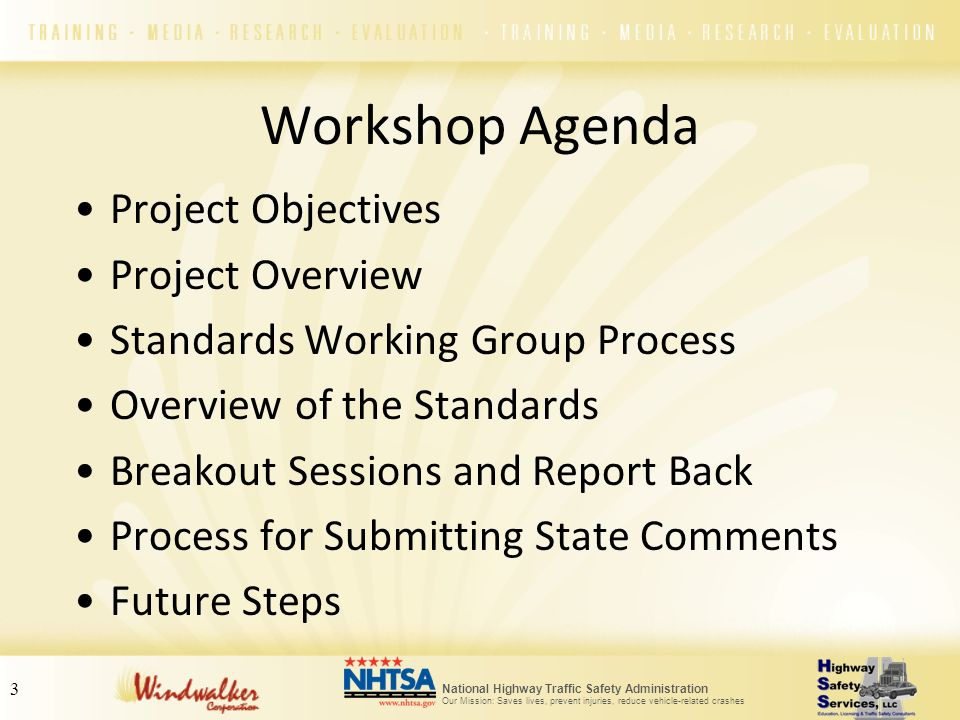 National Highway Traffic Safety Administration Our Mission: Saves lives, prevent injuries, reduce vehicle-related crashes 3 Workshop Agenda Project Ob