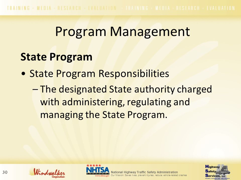 National Highway Traffic Safety Administration Our Mission: Saves lives, prevent injuries, reduce vehicle-related crashes 30 State Program State Progr