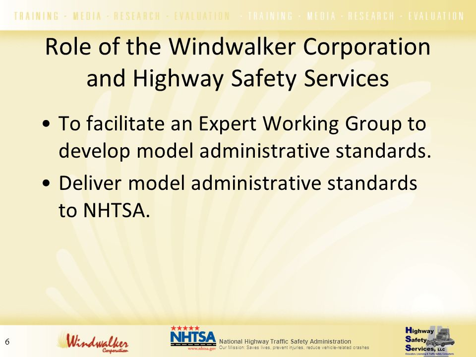 National Highway Traffic Safety Administration Our Mission: Saves lives, prevent injuries, reduce vehicle-related crashes 6 Role of the Windwalker Cor