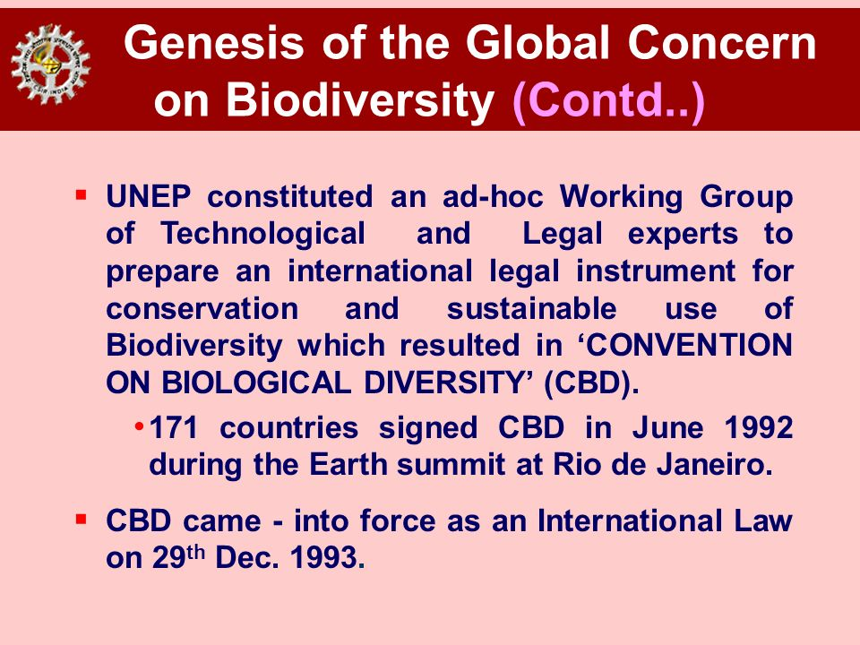 Genesis of the Global Concern on Biodiversity (Contd..) UNEP constituted an ad-hoc Working Group of Technological and Legal experts to prepare an inte