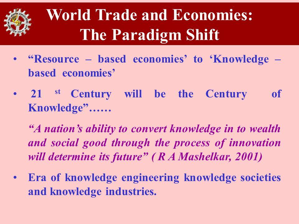 World Trade and Economies: The Paradigm Shift Resource – based economies to Knowledge – based economies 21 st Century will be the Century of Knowledge