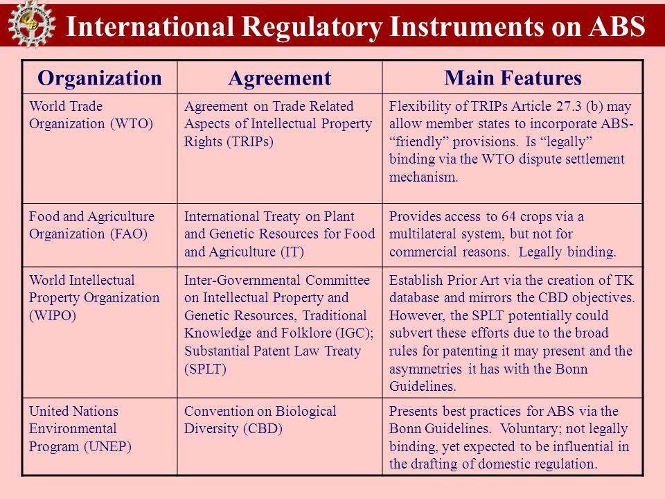 International Regulatory Instruments on ABS OrganizationAgreementMain Features World Trade Organization (WTO) Agreement on Trade Related Aspects of In