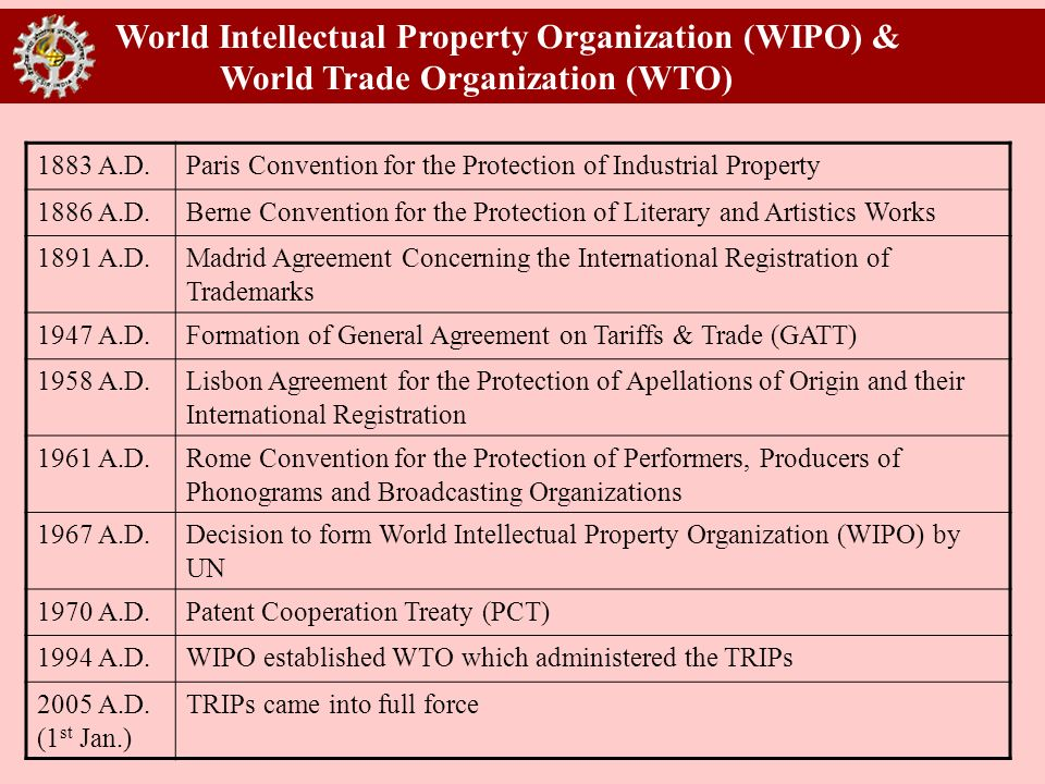 World Intellectual Property Organization (WIPO) & World Trade Organization (WTO) 1883 A.D.Paris Convention for the Protection of Industrial Property 1