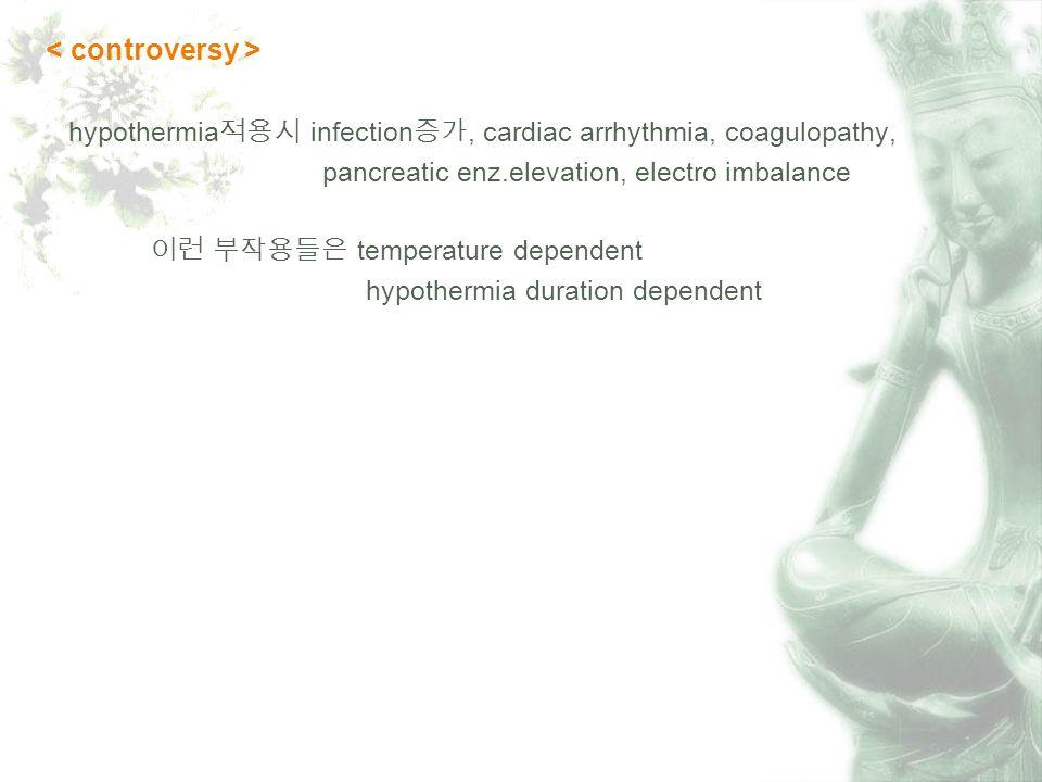 hypothermia infection, cardiac arrhythmia, coagulopathy, pancreatic enz.elevation, electro imbalance temperature dependent hypothermia duration dependent