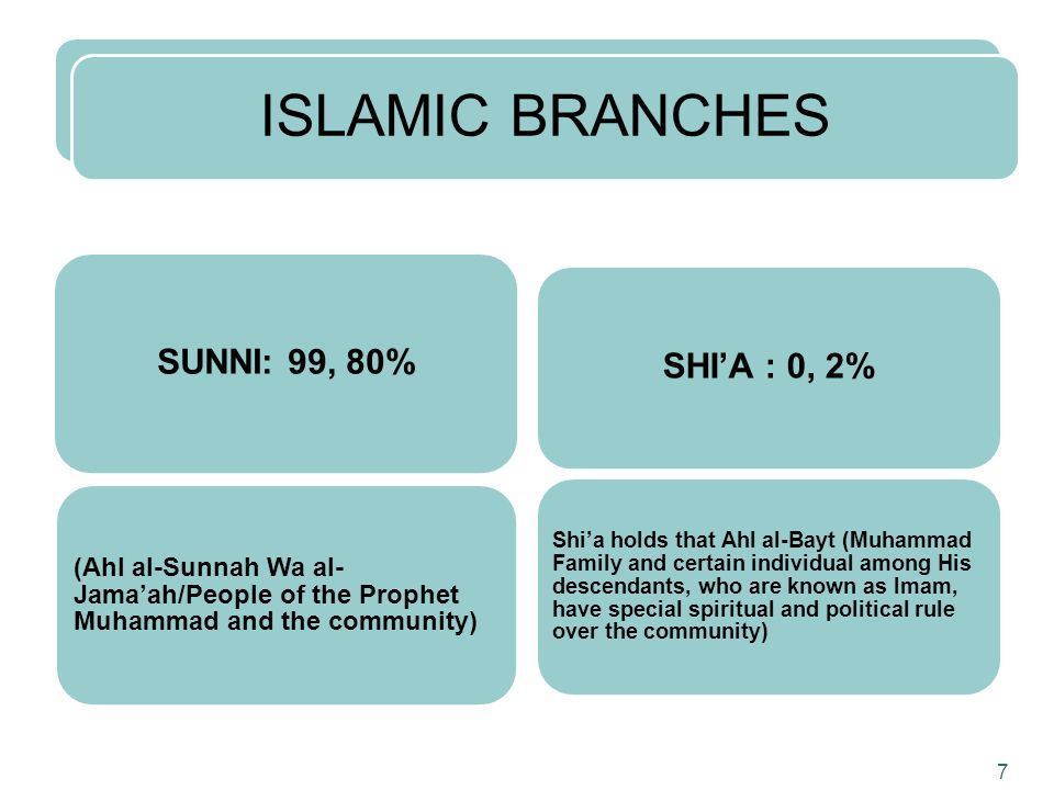 ISLAMIC BRANCHES SUNNI: 99, 80% (Ahl al-Sunnah Wa al- Jamaah/People of the Prophet Muhammad and the community) SHIA : 0, 2% Shia holds that Ahl al-Bay
