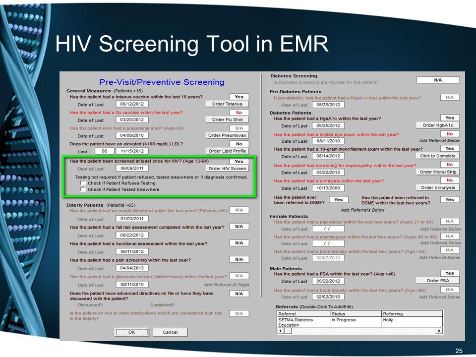 HIV Screening Tool in EMR 25