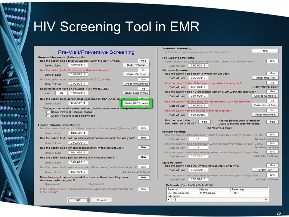 HIV Screening Tool in EMR 26