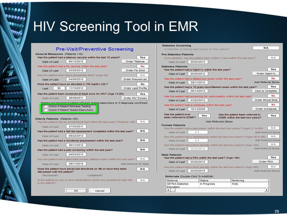 HIV Screening Tool in EMR 29